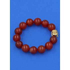 Vòng đeo tay mã não đỏ 14 ly cẩn hạt Phật A Di Đà inox vàng VMNONLV14 - hợp mệnh Hỏa, mệnh Thổ