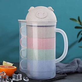 Hình đại diện sản phẩm Bộ Bình Ly Lúa Mạch 5 Món Hình Heo Cute