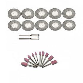 Combo 10 lưỡi cắt phủ kim cương và 10 mũi đá mài mini dùng cho máy khoan mài khắc mini đa năng