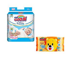 Tã dán Goo.n Premium NB70/S64/M60/L50/XL46 tặng 1 gói khăn ướt Goo.n 66 miếng