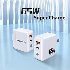 Củ sạc PISEN Pro GaN PD 65W - Super Mini  ( 1 x USB2.4 , 1 x PD , 65W ) màu trắng   - Siêu phẩm _ Hàng chính hãng