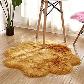 45x45cm Plum Blossom Shape Faux Sheepskin Long Plush Carpet for Bedroom Tea Table Sofa