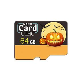 Pumpkin Pattern Micro SD Card 8GB/16GB/32GB/64GB/128GB Mini Flash Memory Storage UHS-1 Class 10 TF Card Memory Size:64GB