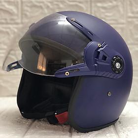 Mũ Bảo Hiểm Có Kính 3/4 Đầu N025 Bopa – Màu Xanh đen Kính Trong _ Chống bụi, chống nắng đi được cả ban đêm