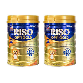 Combo 2 hộp Sữa bột NutiFood RISO OPTI GOLD 3 (900g)  - dinh dưỡng đặc chế giúp hệ tiêu hóa khỏe mạnh cho Trẻ Từ 1 đến 2 Tuổi