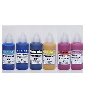 Bộ 6 màu Mực dầu - mực pigment uv dùng cho máy in phun màu Epson - Loại 100ml/màu