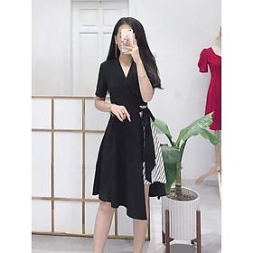 Đầm Xòe Vạt Chéo Phối Sọc Cực Hot [ Kèm Hình Thật Khách Mặc ]
