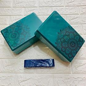 Bộ 2 gạch tập hoa mandala 300gr n và 1 dây yoga cotton