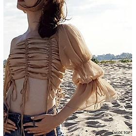 áo croptop nhún thân rút dây tay loe Chloe top  - áo croptop thiết kế napubee (kèm ảnh thật)
