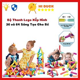 Bộ Lego Xây Dựng Từ Tính Magnetic Sticks Cao Cấp 36 và 64 Chi Tiết Cho Bé Tư Duy, Sáng Tạo