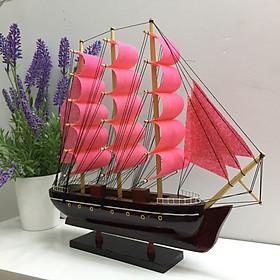 Mô hình thuyền gỗ phong thủy trang trí bàn làm việc - Thân tàu 32cm - Buồm Đỏ Cam