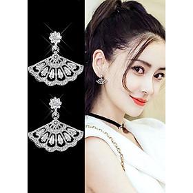Bông tai đính đá hình quạt Style Hàn Quốc