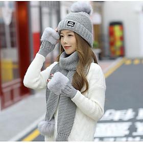 Bộ mũ nón len nữ kèm khăn và găng tay thời trang mới