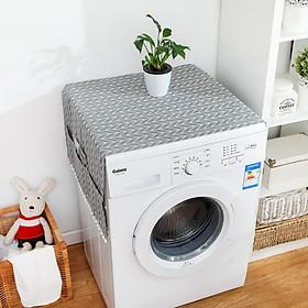Tấm phủ tủ lạnh, máy giặt, lò vi sóng in hình dễ thương, bảo vệ tủ chống bụi bẩn, chống thấm nước có túi bên hông đựng đồ tiện lợi - giao mẫu ngẫu nhiên