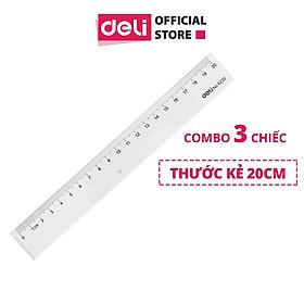 Thước Kẻ Nhựa Học Sinh 20Cm Deli, Trong Suốt - Combo 3 Chiếc - E6220