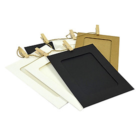 10pcs DIY Three-colour Wall Picture Kraft Photo Hanging Frame Album with Rope Clip for Home Decoration