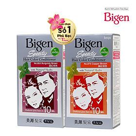 Combo 2 Thuốc Nhuộm Phủ Bạc dạng kem Bigen Speedy Hair Color Conditioner (80mlx2)