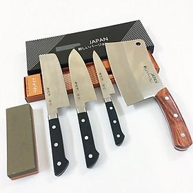 Bộ 4 Dao nhà bếp cao cấp gồm 1 Dao chặt xương Nhật Bản, 3 Dao cán nhựa ABS cao cấp sản xuất theo công nghệ Nhật Bản + Đá mài