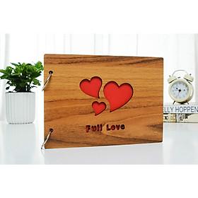 Album ảnh bìa gỗ kích thước 16x22cm + tặng 2 miếng dán giữ ảnh