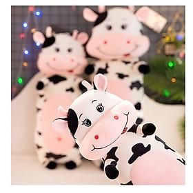 Gấu Bông Gối Ôm 2T Bò Sữa Ngộ Nghĩnh Vải Nhung Co Giãn 4 Chiều