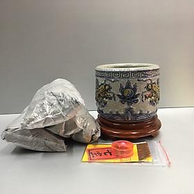 Bát hương, lư hương gốm sứ men rạng nỗi tiếng bát tràng, combo bát hương cả đế gỗ và tro nết + bộ cốt thất bảo để trong bát hương