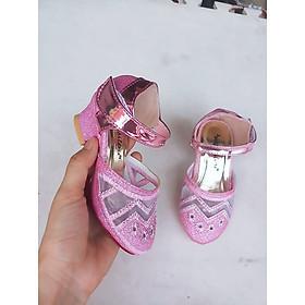 giày bé gái cao 4 phân kim tuyến siêu xinh