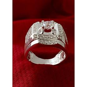 Nhẫn nam ổ gắn kim cương nhan tạo Bạc QTJ - NA18(BẠC)