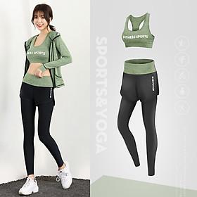 Bộ đồ tập Gym - Set quần dài sports và áo bra  fitness-sports