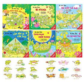 Sách Ehon - Combo 10 chú Ếch phần 3 từ tập 13 đến tập 18 gồm 6 cuốn: Món quà đặc biệt, Đi Picnic, Mở cửa bể bơi, Lần đầu đi cắm trại, Cùng nhau ngắm trăng, Lễ hội mùa Thu