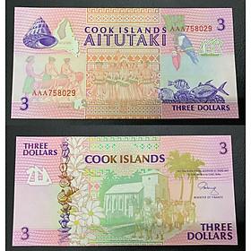 Tờ tiền 3 Dollar quần đảo Cook màu hồng sưu tầm , tiền châu Đại Dương , Mới 100% UNC