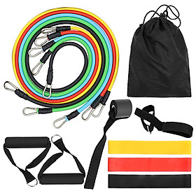 14pcs Resistance Bands Set Workout Fintess Exercise Tube Bands Jump Rope Door Anchor Ankle Straps Cushioned Handles