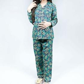 Bộ bầu pyjama kate tay dài quần dài Emum