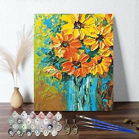 Tranh sơn dầu số hoá 40 x 50 cm có khung - đóa cúc vàng