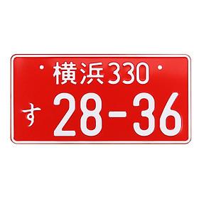 1 PCS RANDOM NUMBERS WHITE BLACK NUMBERS JAPANESE LICENSE PLATE ALUMINUM TAG JDM #RED
