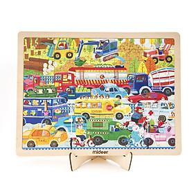 Mideer Puzzle Busy Traffic Bộ xếp hình gỗ 100 miếng chủ đề Giao Thông Hiện Đại