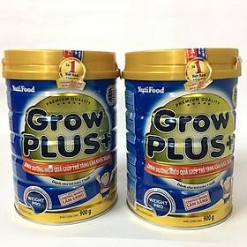 Combo 2 hộp Nutifood Grow Plus+ Xanh 900 gr: Sữa cho trẻ từ 12 tháng bị thiếu cân, còi cọc