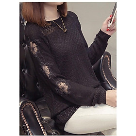 Áo len mỏng nữ, áo len nữ dài tay vai ren hoa, chất len mềm mỏng, hàng nhập Quảng Châu