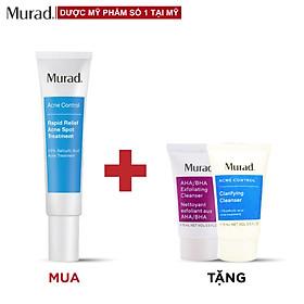 Gel giảm mụn 4 giờ Murad Rapid Relief Acne Spot Treatment 15ml Tặng Sữa rửa mặt AHA/BHA Exfoliating 15ml + Clarifying Cleanser 15ml