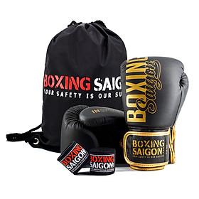 Combo Găng Tay Boxing Saigon + Băng Tay 4m5 (tặng túi rút) -  Đen vàng