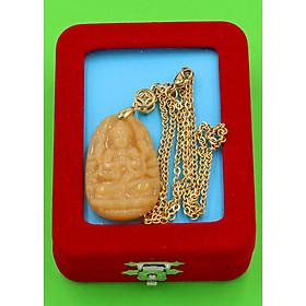 Hình đại diện sản phẩm Vòng cổ phật Thiên Thủ Thiên Nhãn - thạch anh vàng 3.6cm DIVTVB8 - dây inox - kèm hộp nhung - tuổi Tý