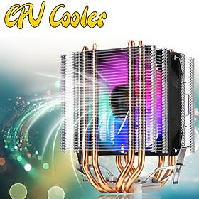 CPU Cooler 4 Heatpipe 3Pin LED RGB Fans For LGA 775/1155/1156/1150/1366 AMD
