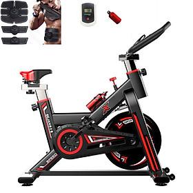 Xe đạp tập thể dục thể thao tập gym tại nhà thế hệ 4.0 khung thép sơn tĩnh điện chịu tải 250 kg, bánh đà 11 kg tặng kèm máy mát xa tạo cơ bụng EMS + đồng hồ cảm biến nhịp tim + bình nước thể thao ( giao màu ngẫu nhiên )
