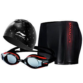 Li Ning LI-NING swimming goggles swimming goggles swimming cap set all-around value swimming equipment fashion atmospheric swimming trunks men swimming goggles swimming cap set LSJK666-2 black XL