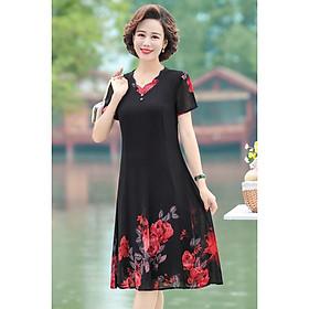 Váy trung niên phối hoa cao cấp V63 - Đầm trung niên dự tiệc sang trọng - Voan cho mẹ
