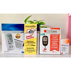 Trọn bộ Máy đo huyết áp cảnh báo đột quỵ A6 BASIC của Microlife tặng máy đo đường huyết OGCARE