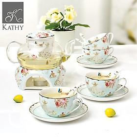 Bộ trà chiều ấm đun sứ xương cao cấp 4 người phong cách Vintage FAIRY TALE 2463