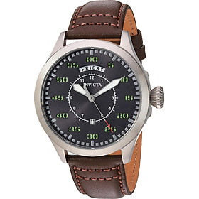 Invicta Men's Aviator Stainless Steel Quartz Watch with Leather Calfskin Strap, Brown, 22 (Model: 22973)