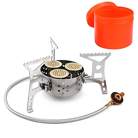 9000W High Power Camping Stove Portable Three Core Head Camp Stove with Steel Braided Hose Windproof Gas Stove Burner
