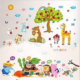 Decal dán tường Vườn thú cây táo và đoàn kết - HP415