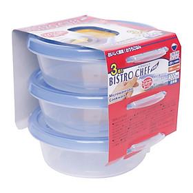 Set 3 hộp đựng đồ ăn mang đi du lịch tiện dụng - Hàng nội địa Nhật